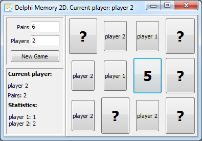 Delphi Memory game in action